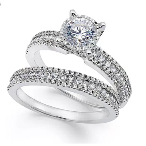 TruMiracle Pave' Bridal Set (1-1/2 cttw) 14K White Gold