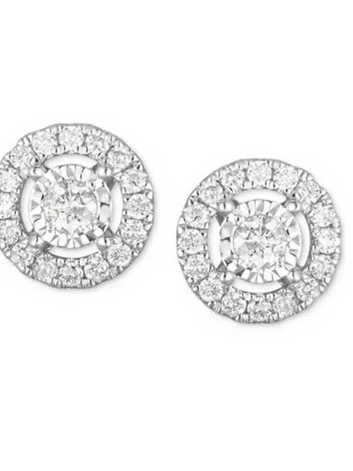 Diamond (1 C.T.T.W.) Open Halo Earrings 14K White Gold