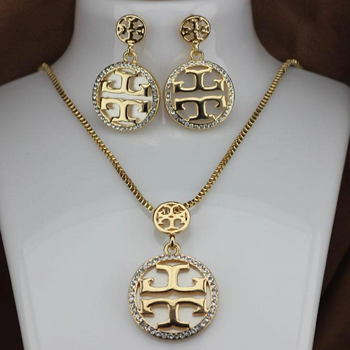 Tory Burch Necklace and Earring Set Gold