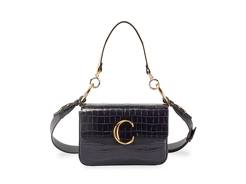 Chole C Croc Embossed Black Leather Shoulder Bag
