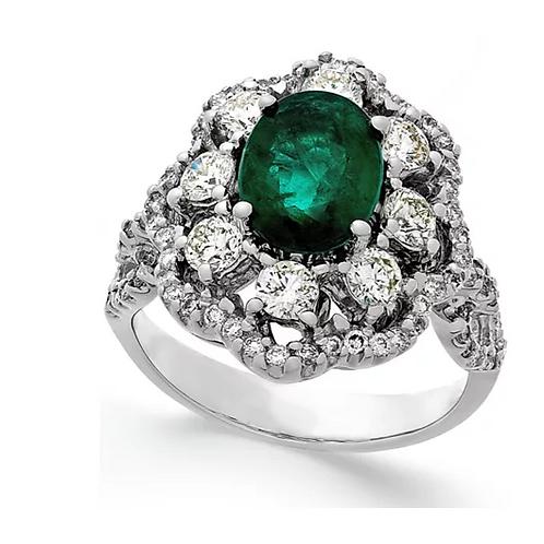 Vintage Emerald and Diamond 14K White Gold