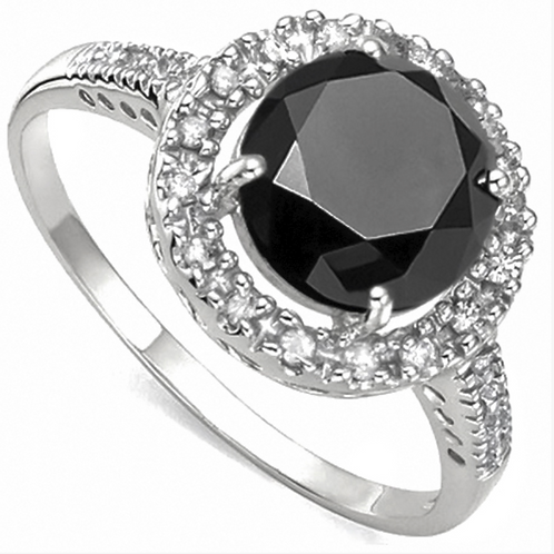 Engagement Ring, 2CT Black Diamond Solitaire with Diamond Halo 14K WG