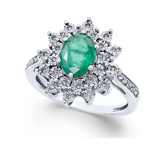 Vintage Emerald and Diamond Ring 14K White Gold