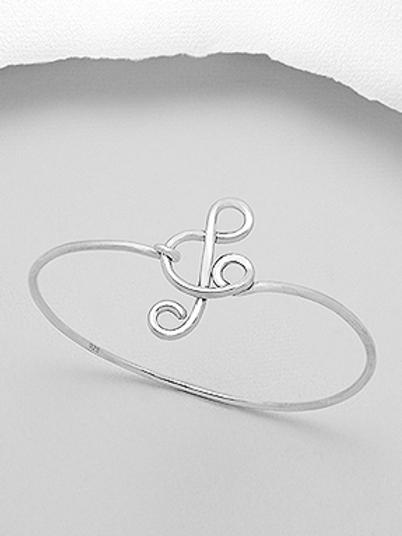 Musical Note Bangle Bracelet or Arm Bracelet 925 Sterling Silver