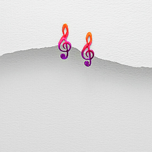 Music Clef Note Earrings -Red Multi