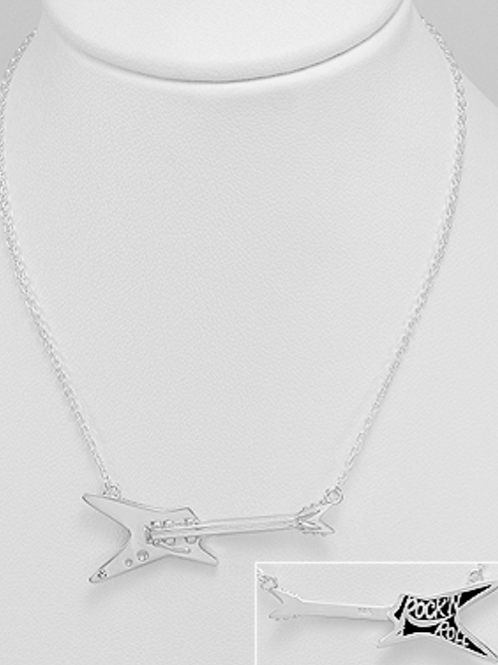Rock-N-Roll Electric Guitar Necklace Sterling Silver