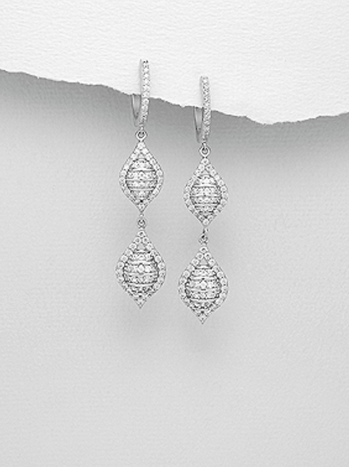 Earrings, Simulated CZ Diamonds 925 Sterling Silver