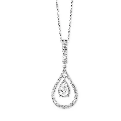 "EFFY Diamond (1 C.T.T.W.) Oribital Teardrop 18"" 14K White Gold"