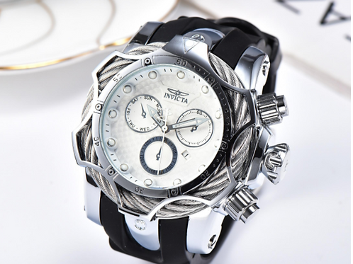 3D Invicta With Black and White Face Watch
