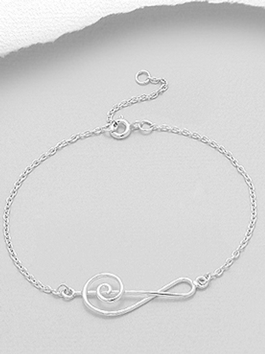 Large Musical Note Bracelet 925 Sterling Silver