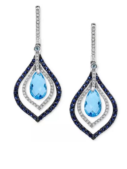 EFFY Blue Topaz & Sapphire Diamond Earrings 14K White Gold