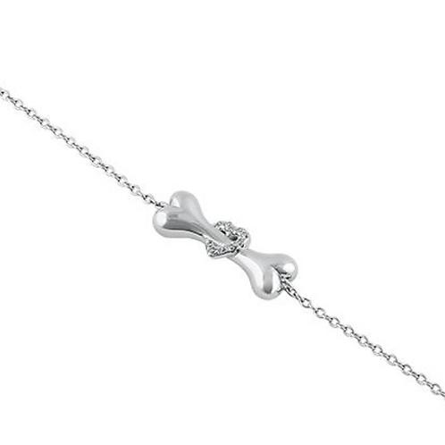 Dog Bone Heart Bracelet Sterling Silver