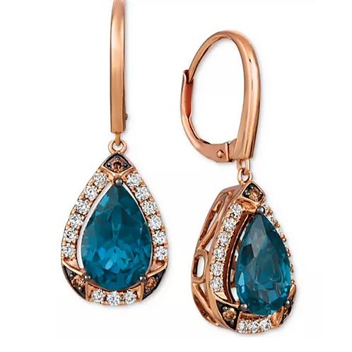 Le Vian Deep Sea Blue Topaz (4-1/10 cttw) Diamond Drop Earrings 14 K Rose Gold