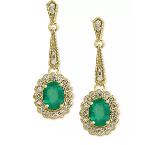 Deco-Style Emerald and Diamond Earrings 14K