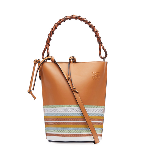 Loewe Gate Marine Snake-Trim Bucket Bag