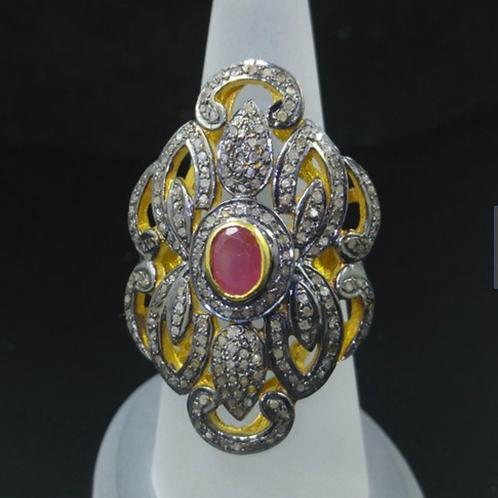 Custom Designed Ring, Pave Diamond Ruby
