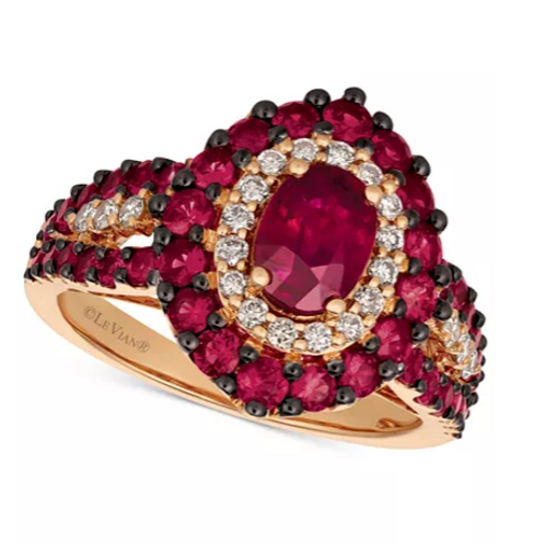 Le Vian Passion Ruby (2-1/4 cttw) and Diamond (1/2 cttw) in 14K Rose Gold