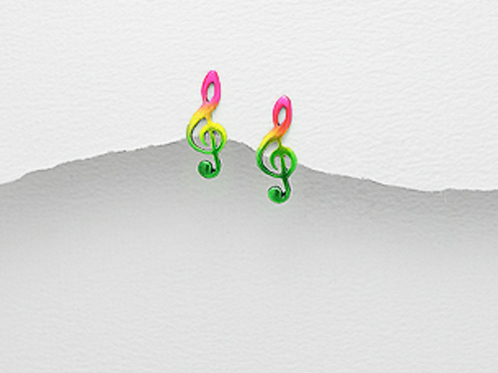 Music Clef Note Earrings Sterling Silver-Rainbow