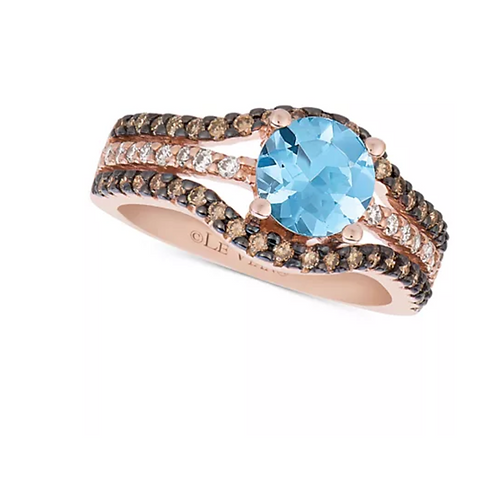 Le Vian Chocolatier Sea Blue Aquamarine & Diamond Ring 14K Rose Gold