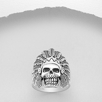 Indian Headdress Skull Ring 925 Sterling Silver
