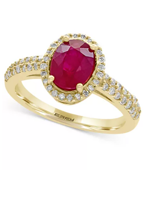 Certified Ruby (1-3/4 CTTW) and Diamond (1/4 CTTW) 14KT Yellow Gold
