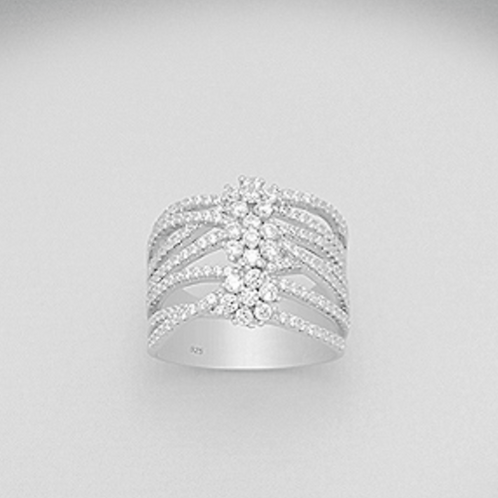 Flower Wide Band Cocktail Ring