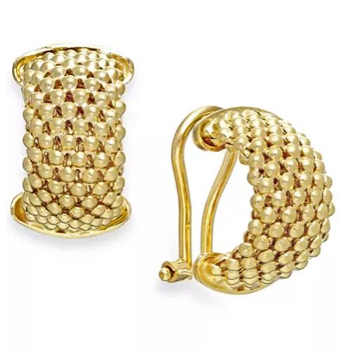Italian Gold Mesh Hoop Earrings 14K YG