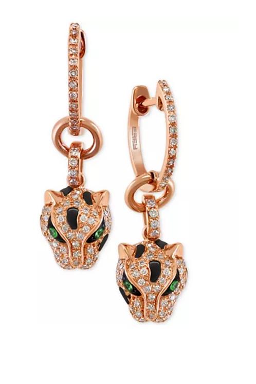 EFFY Tsavorite Diamond Earrings 14K Rose Gold