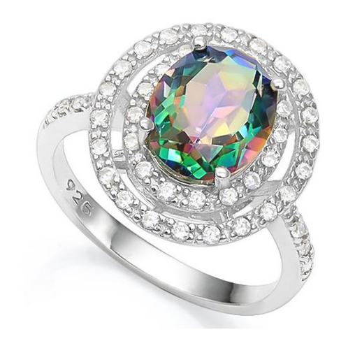 Ring, Green Mystic with Double Diamond Halo