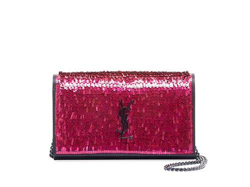 Saint Laurent Kate YSL Paillette Pink/Black Crossbody