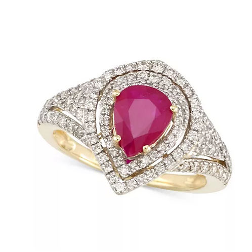 Ruby and Diamond 14K Ring (1-1/5 CTTW)