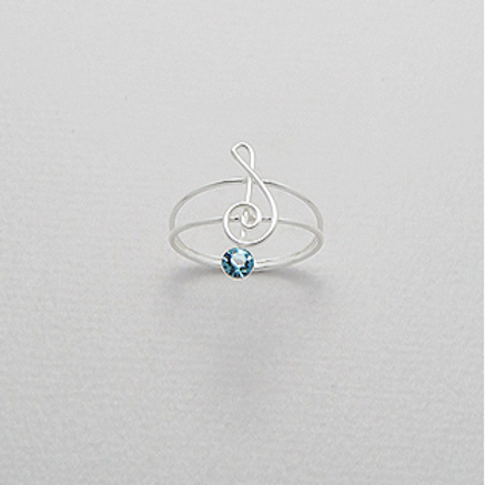 London Blue Topaz Musical Note Ring Sterling Silver