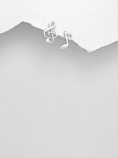 Music Note Earrings 925 Sterling Silver