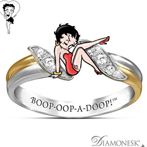 Betty Boop Diamonesk Ring Sterling Silver and 18K
