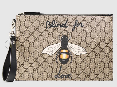 Gucci Bestiary Pouch With Bee, GG Supreme