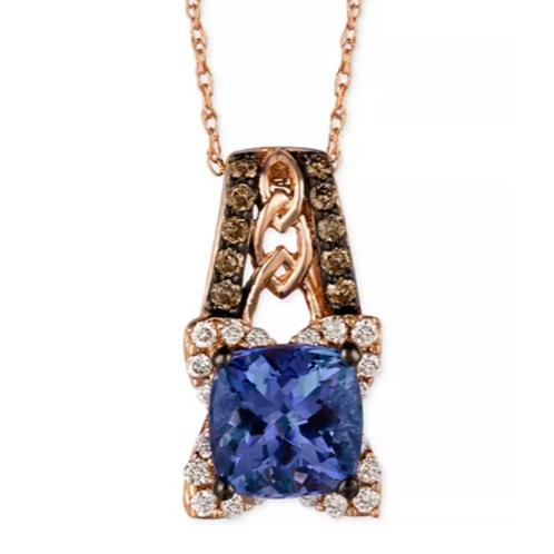 Le Vian Blueberry Tanzanite Diamond Pendant Necklace 14K Rose Gold