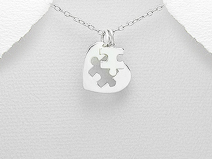 Heart Jigsaw Puzzle Pendant Necklace