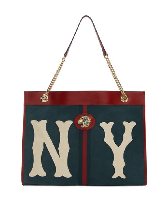 Gucci Rajah Large Suede New York Yankees Tote