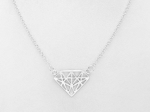 Large Diamond Shape Pendant Necklace