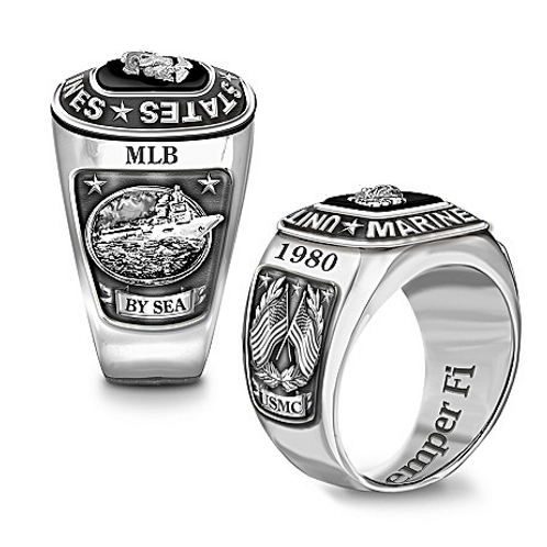 USMC by Sea, Personalized Stainless Steel Ring