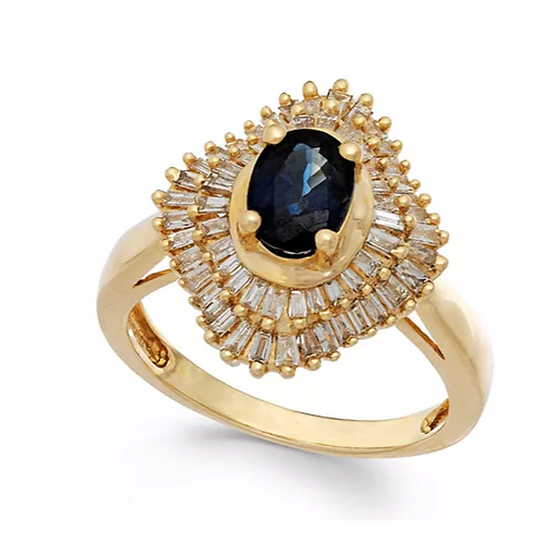 Sapphire (1/2 cttw) Diamond ( 1 cttw) 14K Yellow Gold Ring