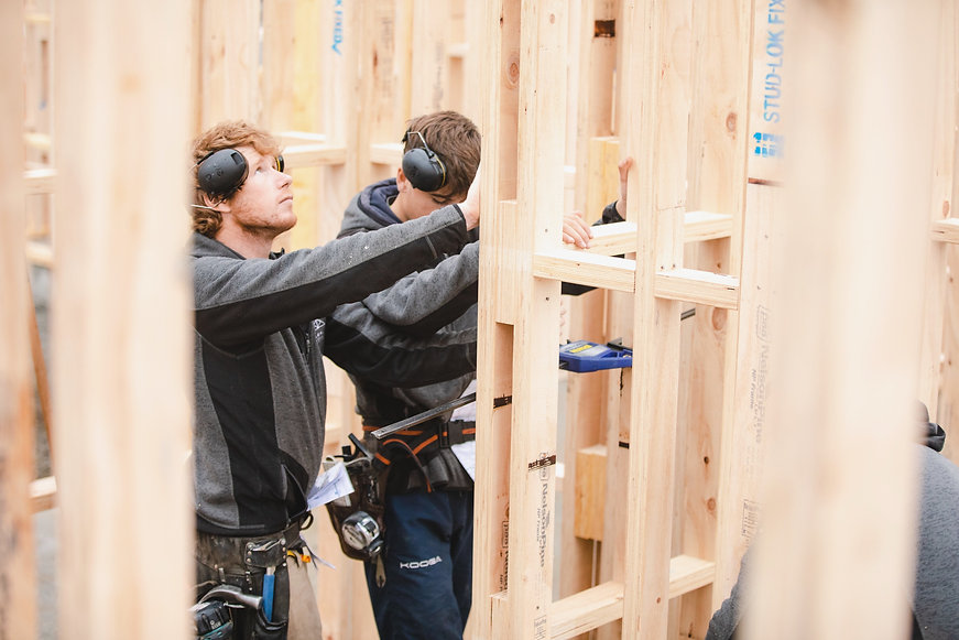 Builders building new home in Canterbury, NZ
