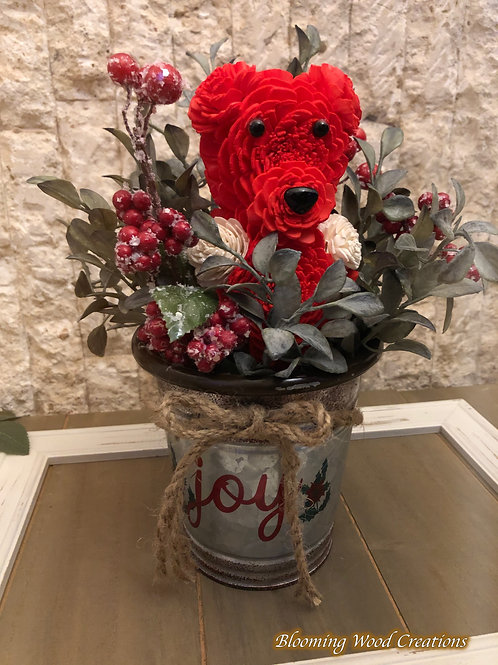 Red Christmas Blooming Bear