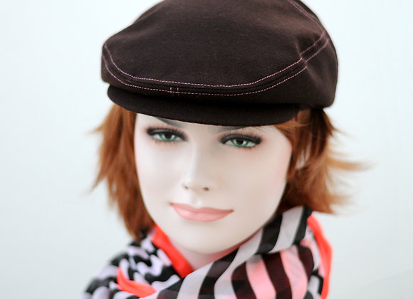 Burgundy hat with contrasting pink seams and beautiful polka dot lining