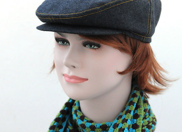Grey hat with contrasting yellow seams and beautiful giant polka dot lining