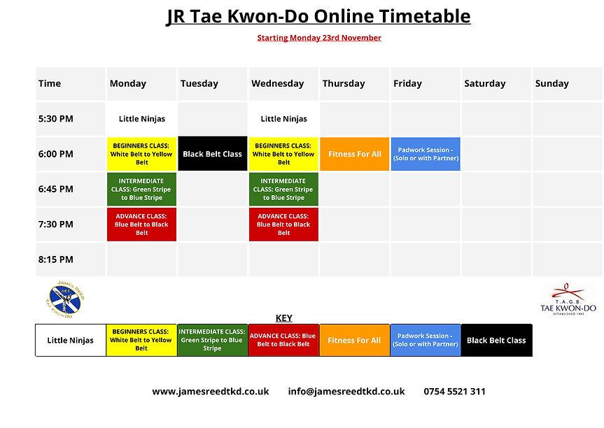 JR Tae Kwon-Do Online Class Timetable.jp