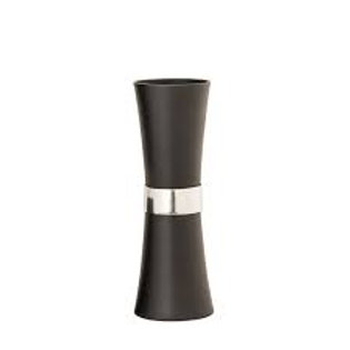 Aluminum Vase with Silver Band, Black 17""