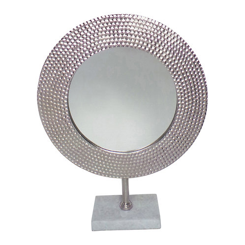 """Metal Hammered Mirror on Stand, Silver 19"""""""