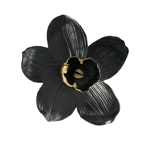 Resin Orchid Wall Hanger, Black/Gold 9""
