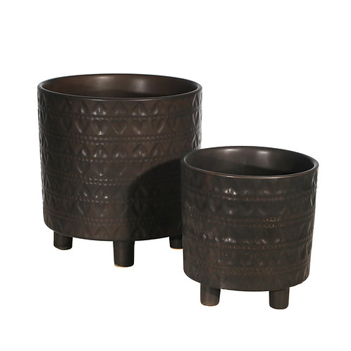 """Footed Planters with Hearts, Matte Black 9/6"""" (Set of 2)"""